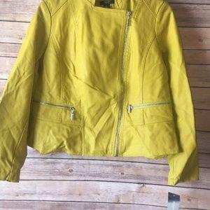 Alfani Women Luxe Lime Faux Leather Moto Jacket LP